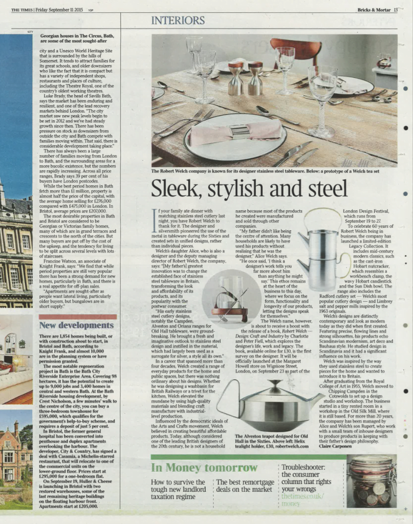 Article from The Times on Robert Welch including imagery from our shoot.